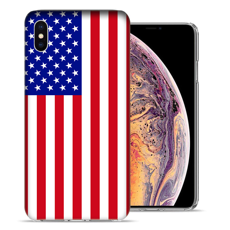 Apple iPhone XS And X American Flag Design TPU Gel Phone Case Cover