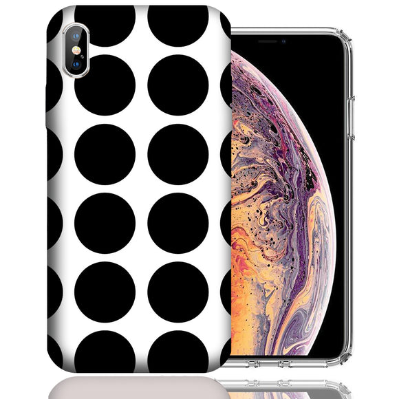 Apple iPhone XS Max 6.5 Inch Custom UV Printed Design Case - Black White Polkadot Design Cover
