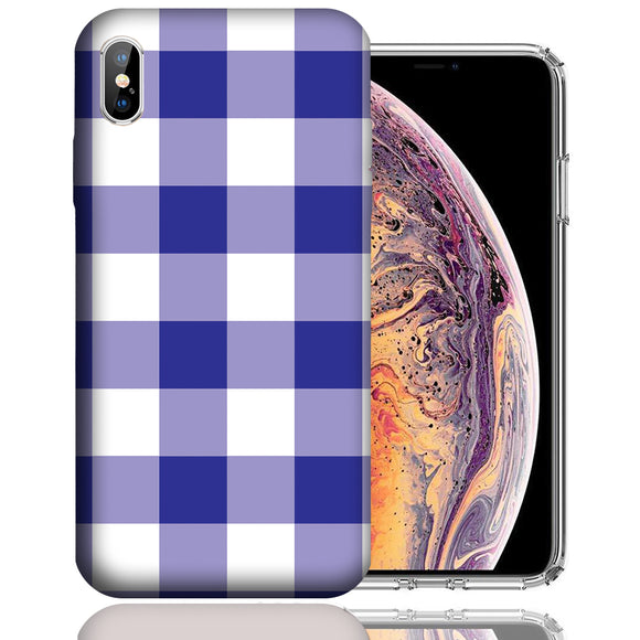 Apple iPhone XS Max 6.5 Inch Custom UV Printed Design Case - Blue White Plaid Design Cover