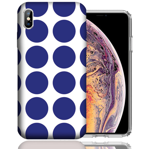 Apple iPhone XS Max 6.5 Inch Custom UV Printed Design Case - Blue White Polkadot Design Cover