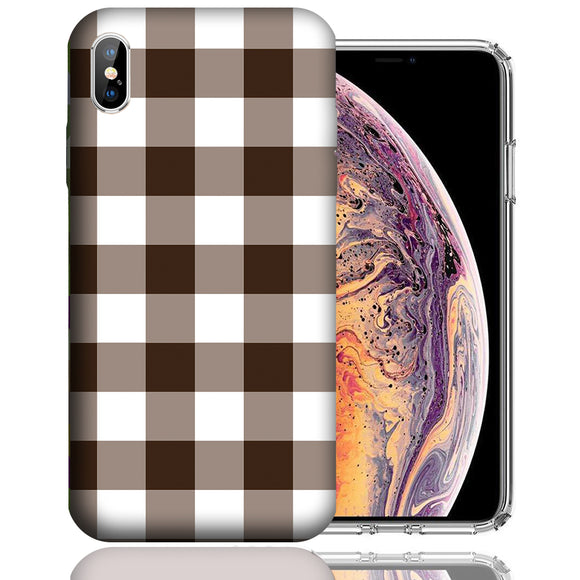 Apple iPhone XS Max 6.5 Inch Custom UV Printed Design Case - Brown White Plaid Design Cover
