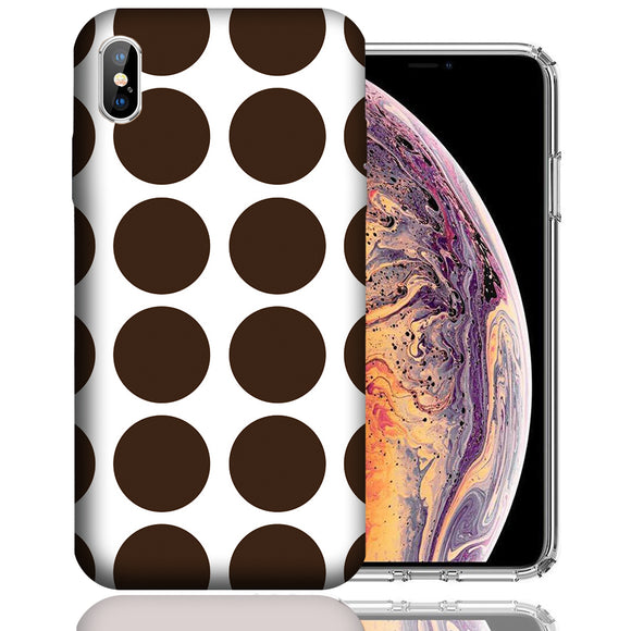 Apple iPhone XS Max 6.5 Inch Custom UV Printed Design Case - Brown White Polkadot Design Cover