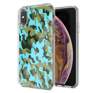 Apple iPhone XS And X Blue Green Camo Design Double Layer Phone Case Cover