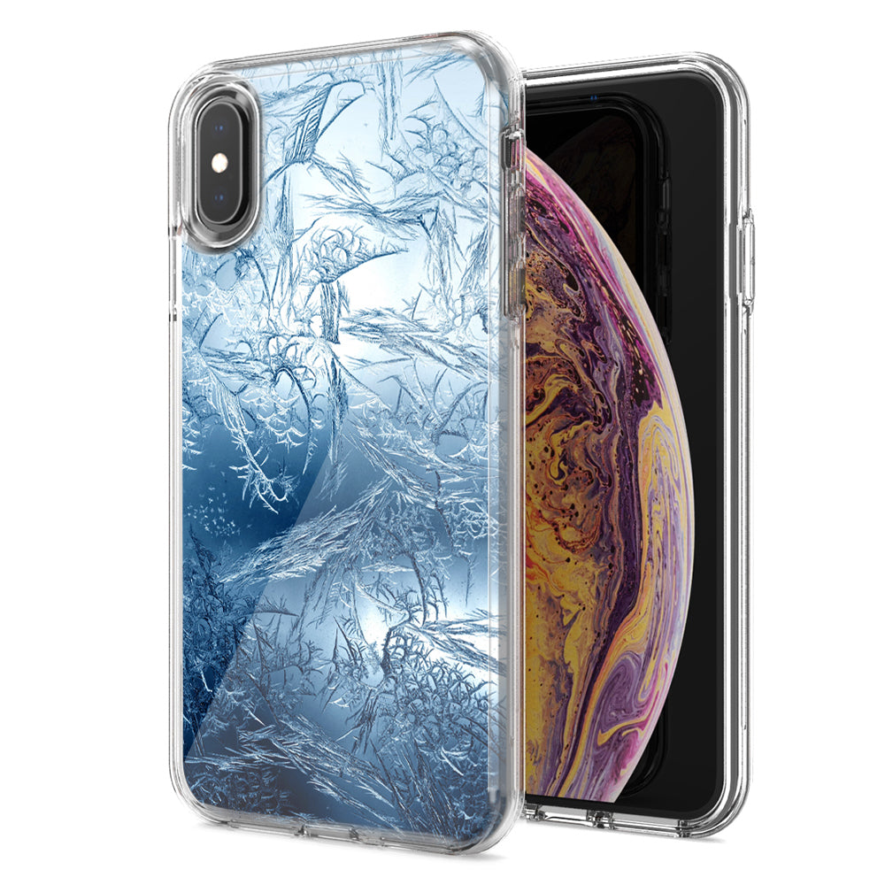 Apple iPhone XS Max Blue Ice Design Double Layer Phone Case Cover