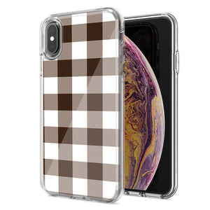 Apple iPhone XS Max Brown Plaid Design Double Layer Phone Case Cover
