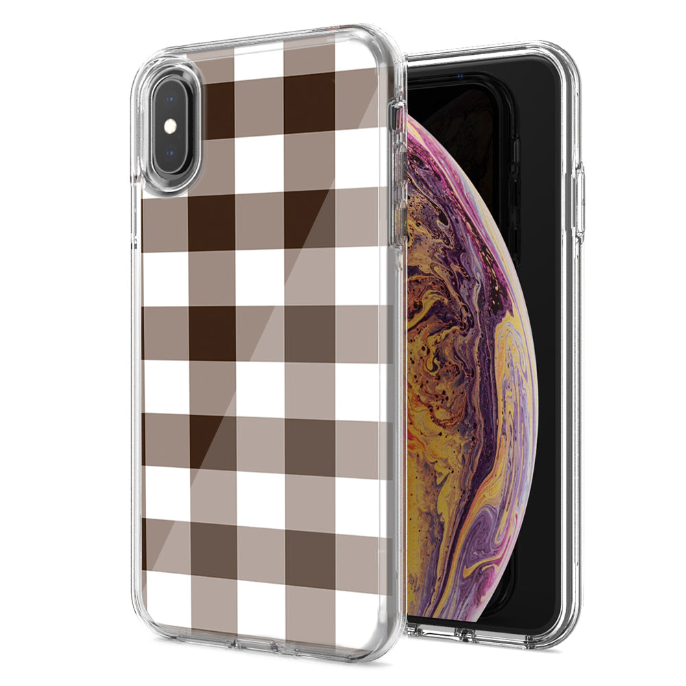 Apple iPhone XS And X Brown Plaid Design Double Layer Phone Case Cover