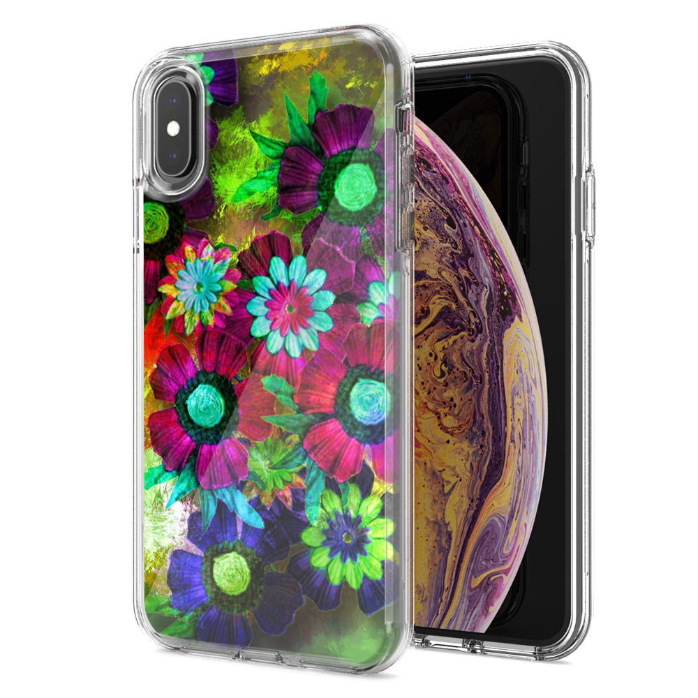 Apple iPhone XS And X Colorful Daisies Design Double Layer Phone Case Cover