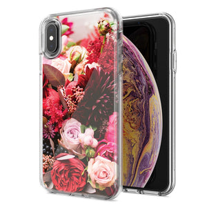 Apple iPhone XS Max Colorful Flowers Design Double Layer Phone Case Cover