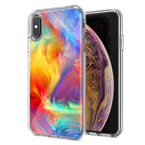 Apple iPhone XR Feather Paint Design Double Layer Phone Case Cover