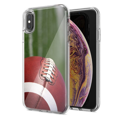 Apple iPhone XS Max Football Design Double Layer Phone Case Cover
