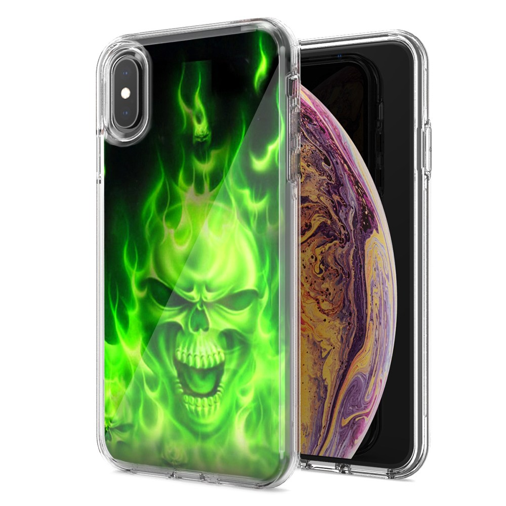 Apple iPhone XS Max Green Flaming Skull Design Double Layer Phone Case Cover