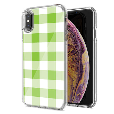 Apple iPhone XS Max Green Plaid Design Double Layer Phone Case Cover