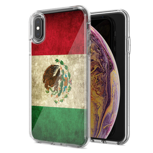 Apple iPhone XS Max Mexico Flag Design Double Layer Phone Case Cover