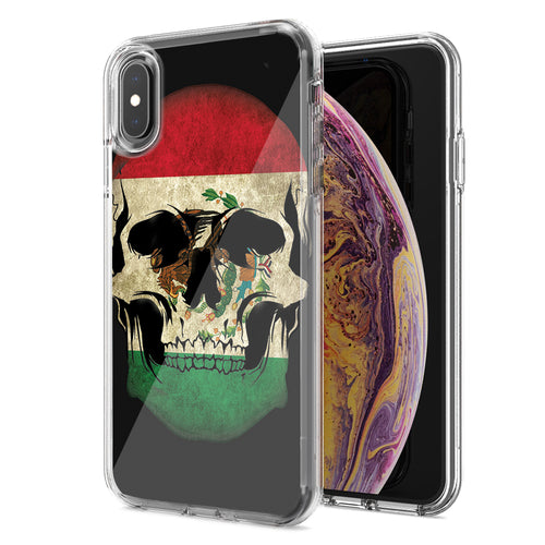 Apple iPhone XR Mexico Flag Skull Design Double Layer Phone Case Cover