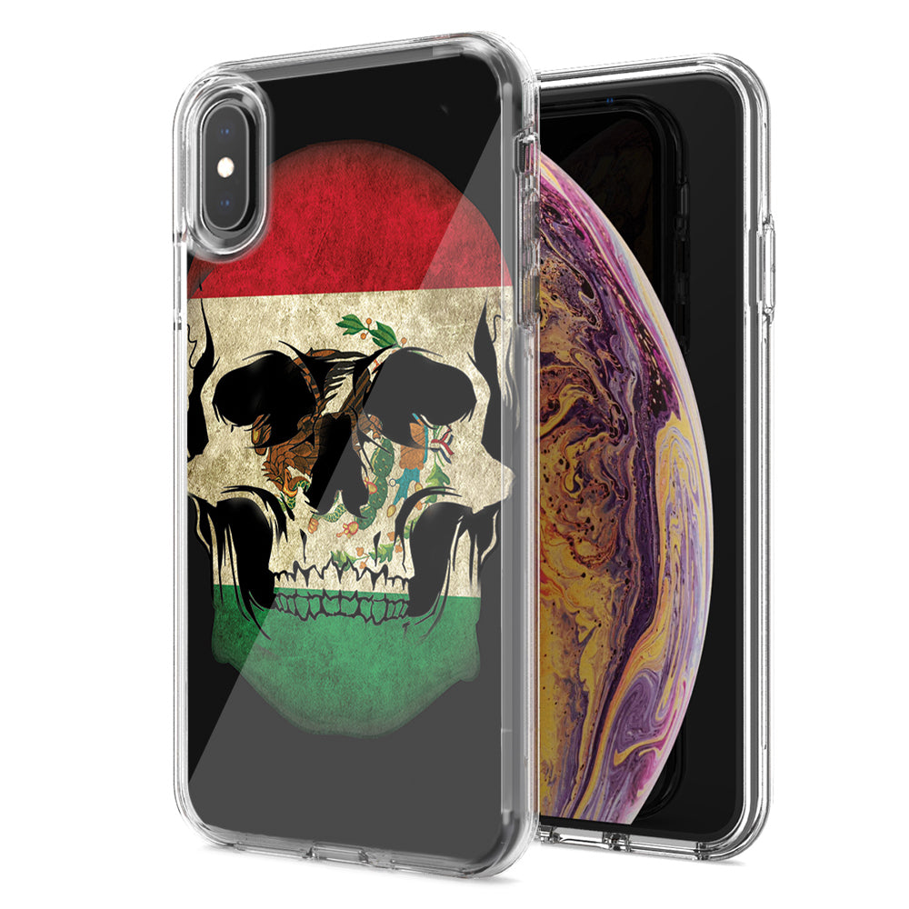 Apple iPhone XS Max Mexico Flag Skull Design Double Layer Phone Case Cover