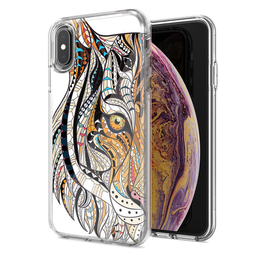 Apple iPhone XR Mosaic Tiger Face Design Double Layer Phone Case Cover