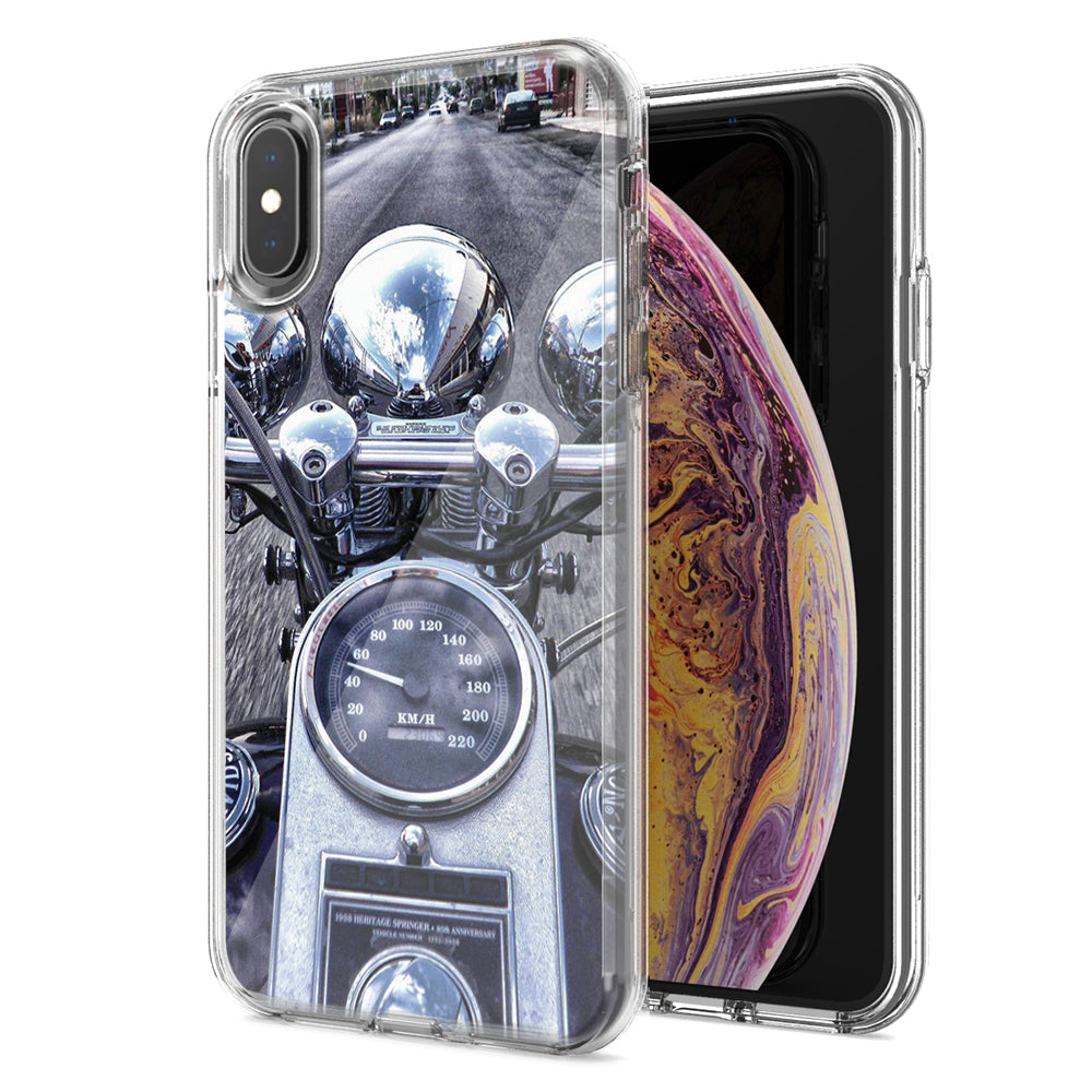 Apple iPhone XS Max Motorcycle Chopper Design Double Layer Phone Case Cover
