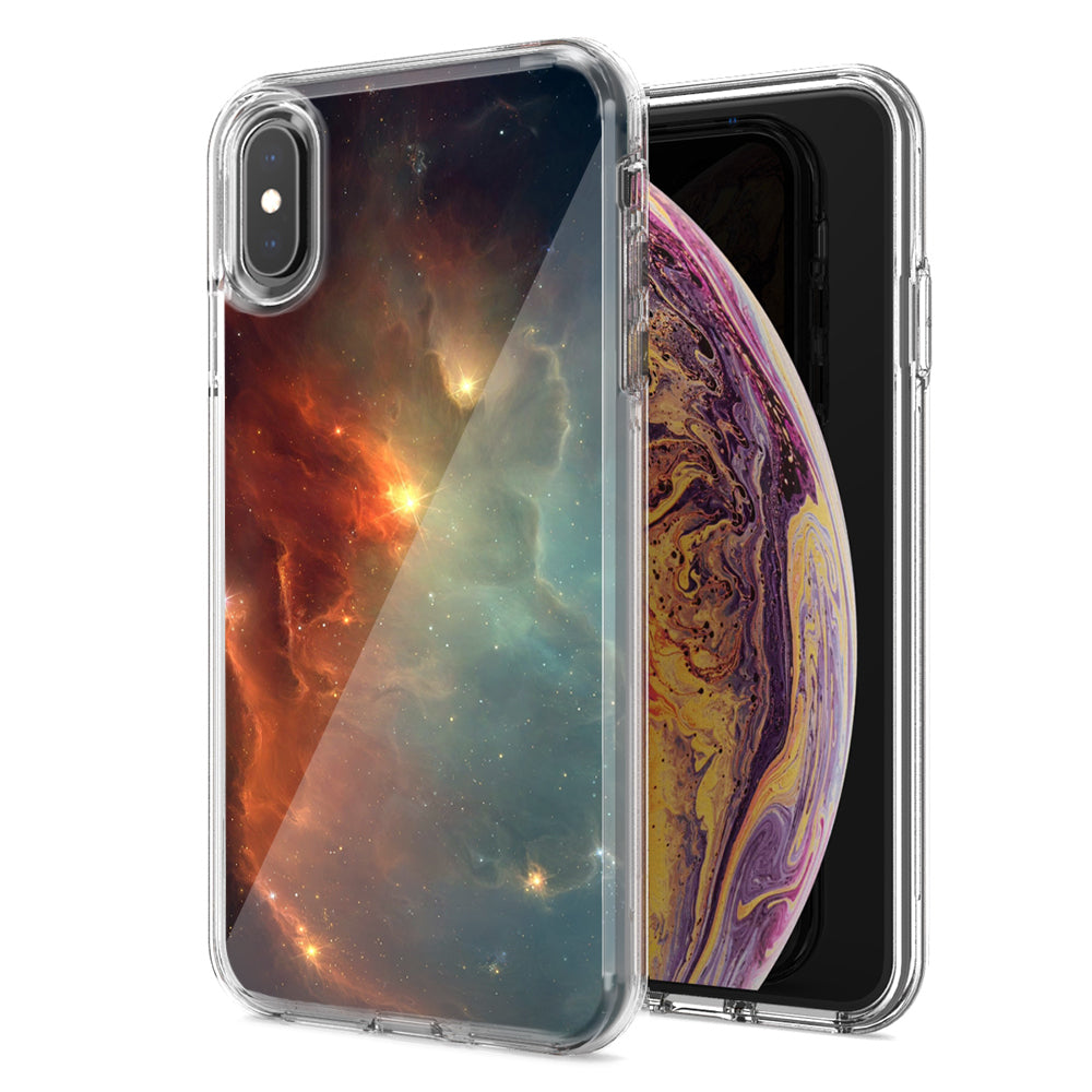 Apple iPhone XS And X Nebula Design Double Layer Phone Case Cover