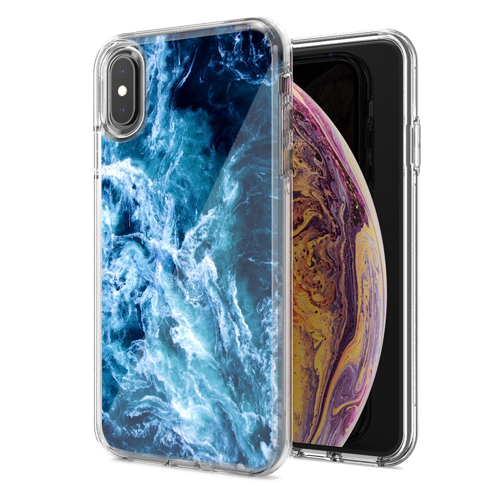 Apple iPhone XR Deep Blue Ocean Waves Design Double Layer Phone Case Cover
