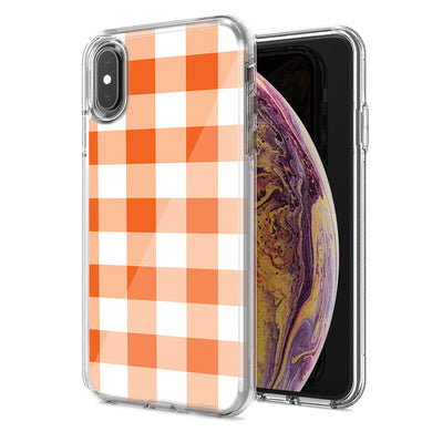 Apple iPhone XR Orange Plaid Design Double Layer Phone Case Cover