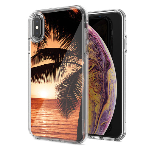 Apple iPhone XS Max Paradise Sunset Design Double Layer Phone Case Cover