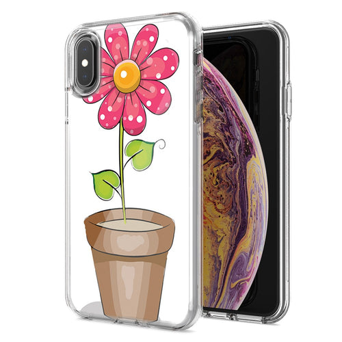 Apple iPhone XR Pink Daisy Design Double Layer Phone Case Cover