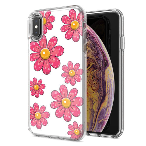 Apple iPhone XR Pink Daisy Flower Design Double Layer Phone Case Cover