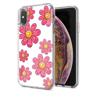 Apple iPhone XS Max Pink Daisy Flower Design Double Layer Phone Case Cover