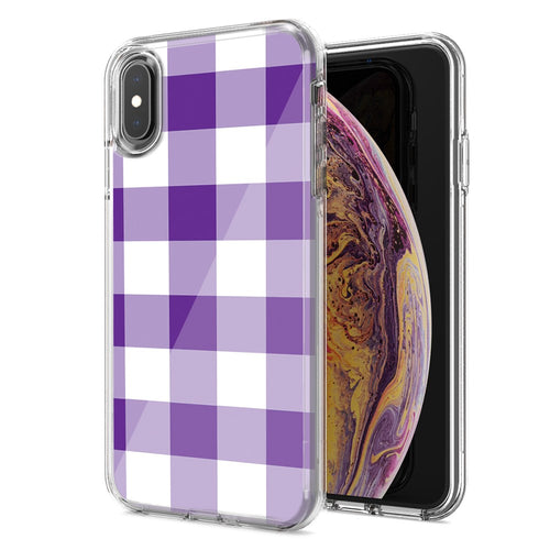 Apple iPhone XR Purple Plaid Design Double Layer Phone Case Cover