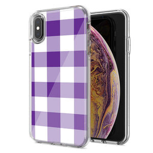 Apple iPhone XS Max Purple Plaid Design Double Layer Phone Case Cover