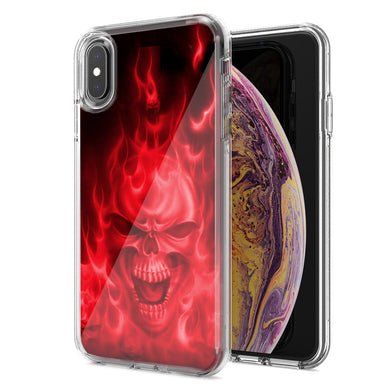 Apple iPhone XR Red Flaming Skull Design Double Layer Phone Case Cover