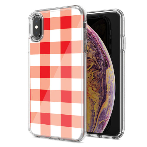 Apple iPhone XR Red Plaid Design Double Layer Phone Case Cover