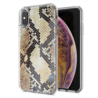 Apple iPhone XS Max Snake Skin Design Double Layer Phone Case Cover