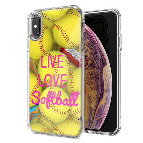 Apple iPhone XS Max Love Softball Design Double Layer Phone Case Cover