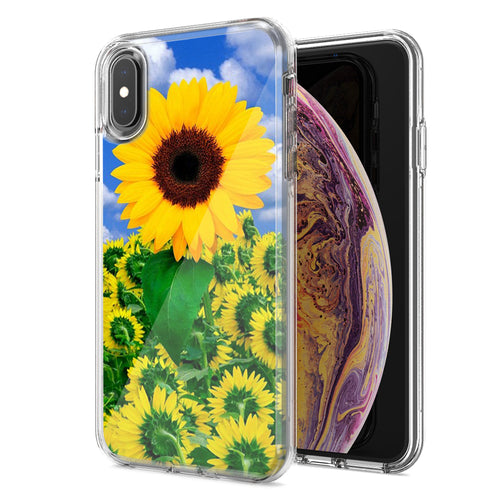 Apple iPhone XR Sunflowers Design Double Layer Phone Case Cover