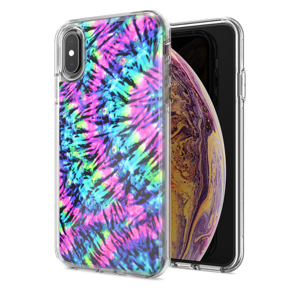 Apple iPhone XR Hippie Tie Dye Design Double Layer Phone Case Cover
