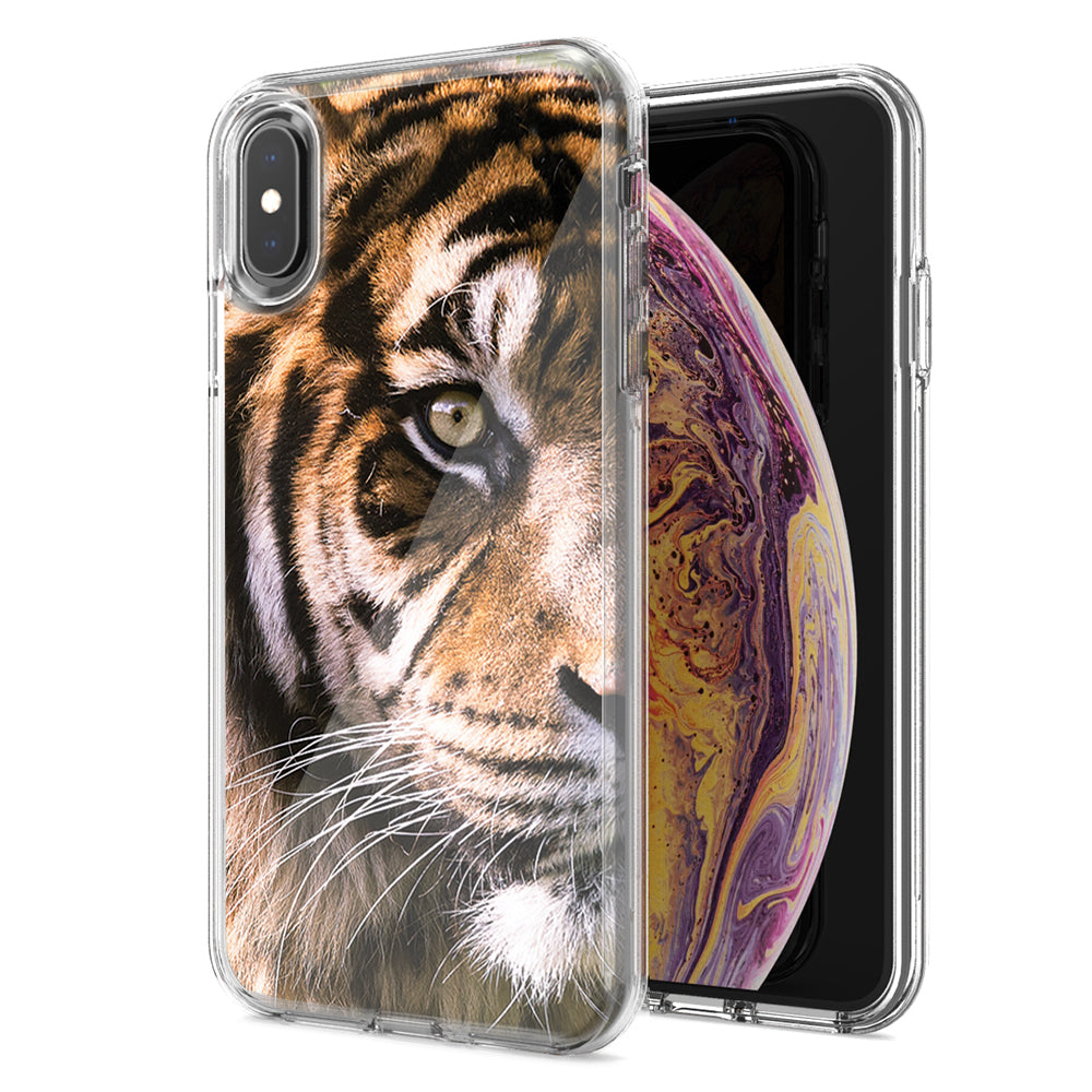 Apple iPhone XR Tiger Face 2 Design Double Layer Phone Case Cover