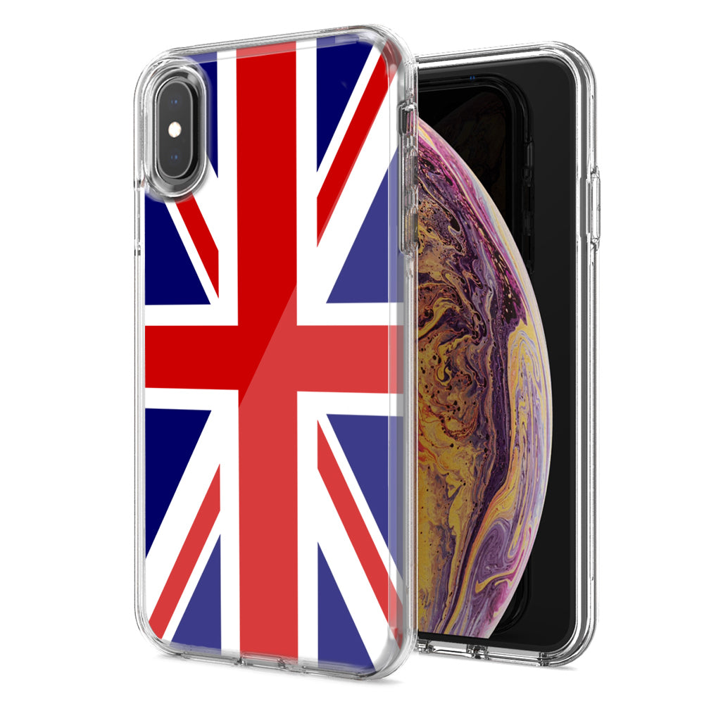 Apple iPhone XS And X UK England British Flag Design Double Layer Phone Case Cover