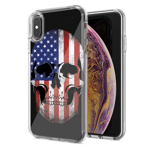 Apple iPhone XR US Flag Skull Double Layer Phone Case Cover