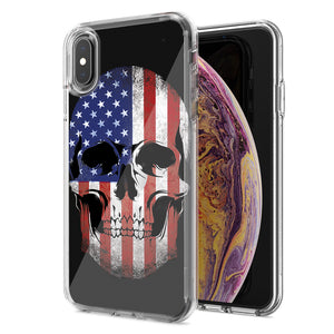 Apple iPhone XS Max US Flag Skull Double Layer Phone Case Cover