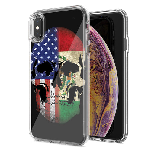 Apple iPhone XR US Mexico Flag Skull Double Layer Phone Case Cover