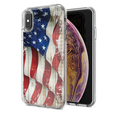 Apple iPhone XR Vintage American Flag Design Double Layer Phone Case Cover