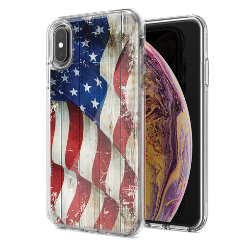 Apple iPhone XS Max Vintage American Flag Design Double Layer Phone Case Cover