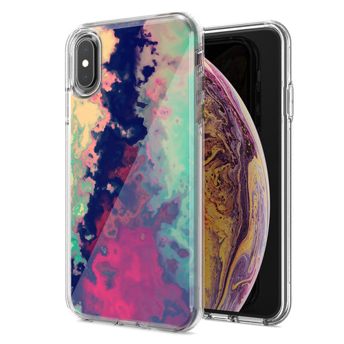 Apple iPhone XR Watercolor Paint Design Double Layer Phone Case Cover
