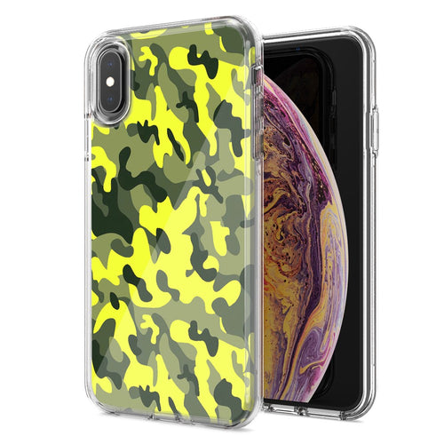 Apple iPhone XR Yellow Green Camo Design Double Layer Phone Case Cover