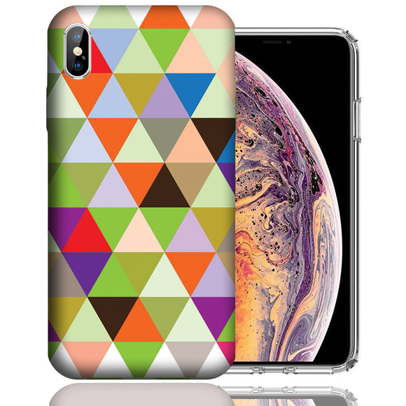 Apple iPhone XS Max 6.5 Inch Custom UV Printed Design Case - Colorful Checkered Design Cover