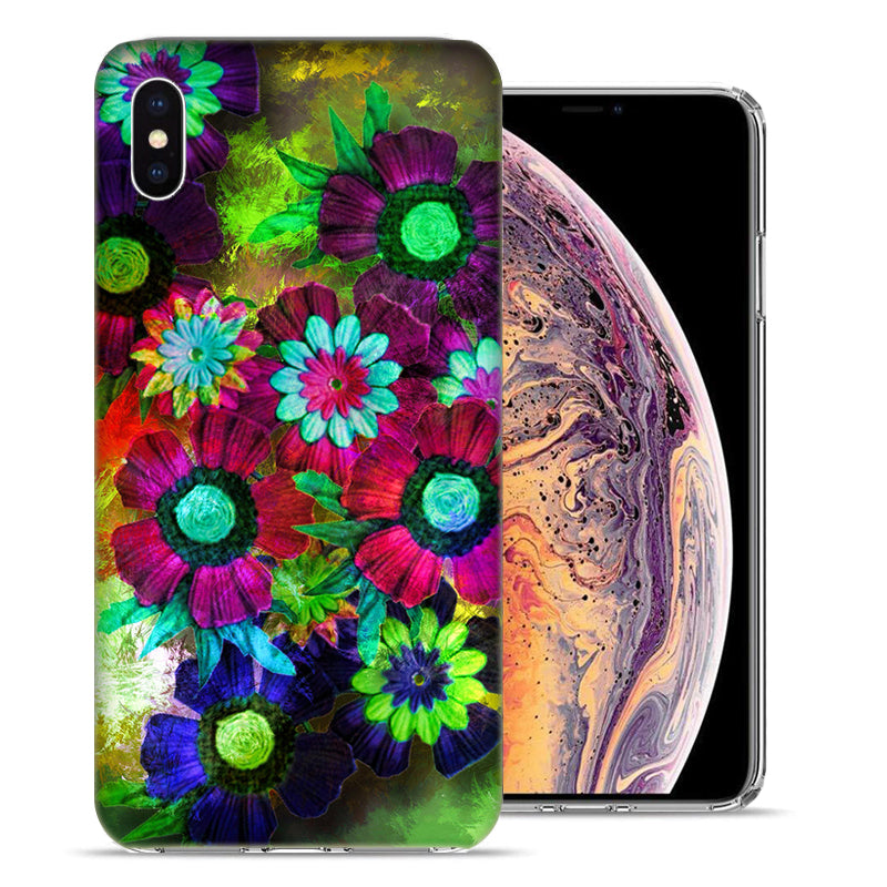 Apple iPhone XS And X Colorful Daisies Design TPU Gel Phone Case Cover