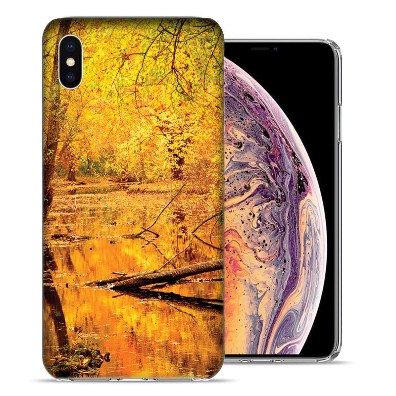 Apple iPhone XS And X Golden Autumn Leaves Design TPU Gel Phone Case Cover