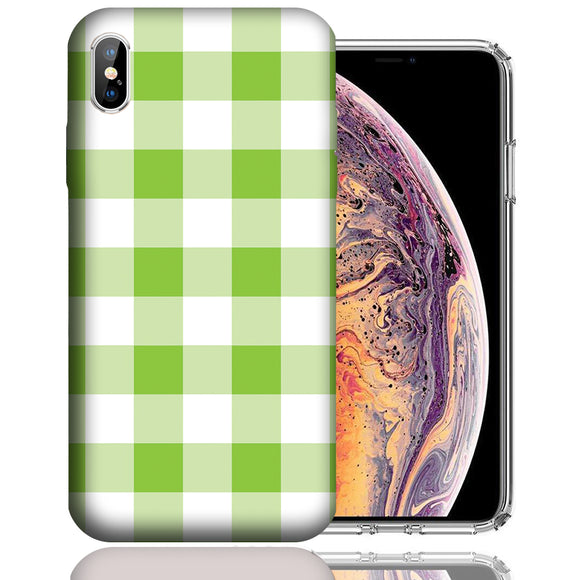 Apple iPhone XS Max 6.5 Inch Custom UV Printed Design Case - Green White Plaid Design Cover