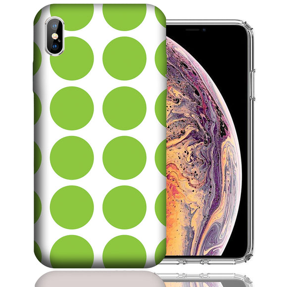 Apple iPhone XS Max 6.5 Inch Custom UV Printed Design Case - Green White Polkadot Design Cover